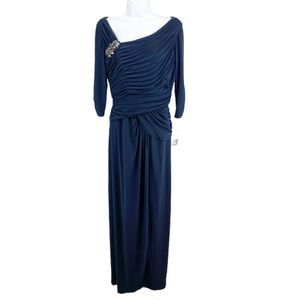 Adrianna Papell Formal Dress Navy Blue Size 12